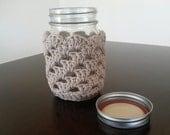Beige Mason Jar Cozy Mason Jar Koozie Gift Valentines Day