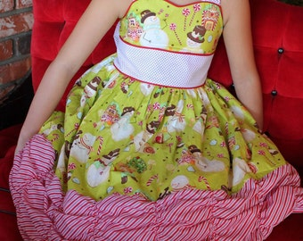 """The XOXO Dress - with a Sweetheart Neckline and Corset Back, PDF Sewing Pattern for Infants and Girls size 12m to 14, plus 18"""" Doll"""