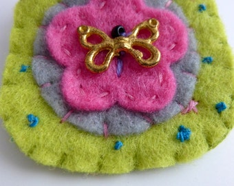 Green felt Butterfly  brooch