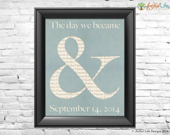 Ampersand Wall Art, Wedding Anniversary Housewarming Engagement Couples Personalized Gift