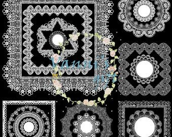 48 White Lace Silhouette Wedding Digital Download Scrapbooking Clip Art b71
