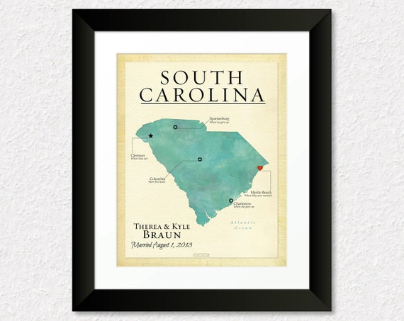 ... Gift, Travel Map of South Carolina, Gift for Couple, Gift for Spouse
