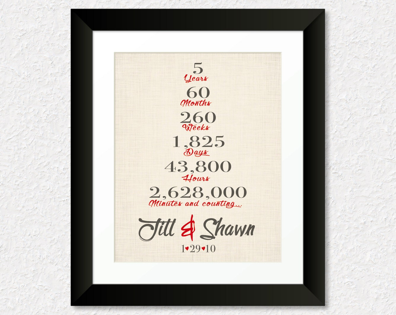 5 year anniversary gift five year wedding anniversary gift for Gift ideas for 1 year wedding anniversary
