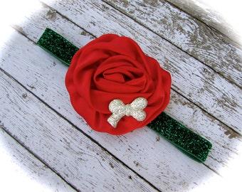 Red Headband, Christmas Headband, Baby Headband, Headband, Infant Headband, Flower Headband, Red Flower Headband, Baby Gift, Christmas Gift
