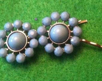 Light Turquoise Blue Flower Hair Pins Set of 2