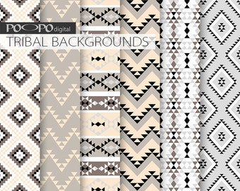 Gray and pink tribal digital paper grey soft blush pink pattern aztec native backgrounds invites party supplies invitation card thank you