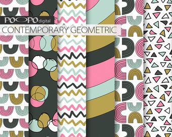Contemporary geometric digital paper modern crazy colorful pink blue black scrapbooking paper geometrical pattern party printable supplies