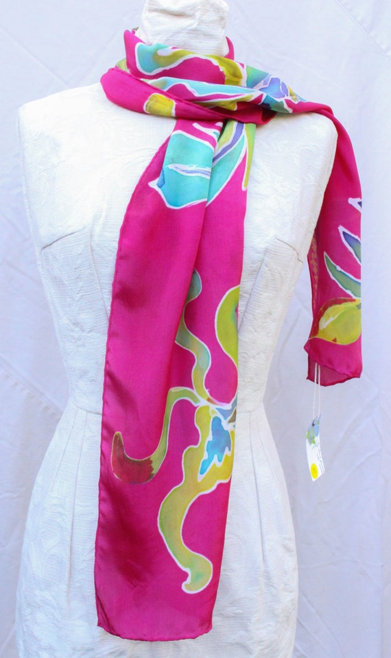 habotai silk painted scarves by artist by