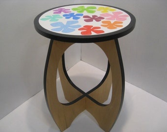 Table / Side Table / Accent Table / Hand Painted by Recovered Design