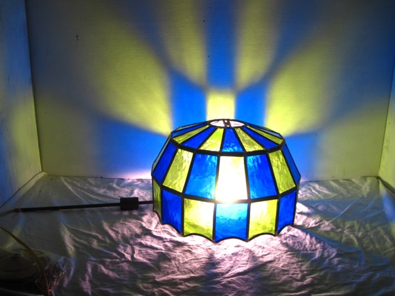 Blue Green Stained Glass Ceiling Hanging Lamp Shade