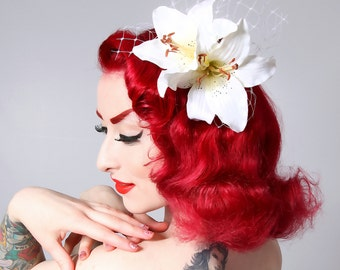 Rockabilly Pin Up Bridal White Lily hair Flower Fascinator headpiece