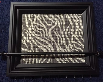 Custom Zebra Print Framed jewelry organizer / jewelry holder