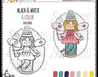 Sewing Fairy Hand Drawn Illustration, Clipart, Digital Stamp, Embroidery Pattern Commercial Use