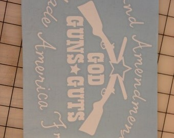 God, Guns & Guts- Vinyl Wall Decal- Vinyl Wall Lettering