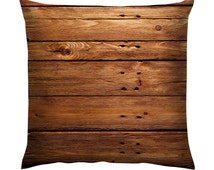 "Brown Wood Texture Cushion/Pillow 18"""