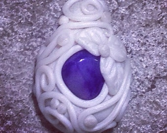 Purple Dyed Agate Pendant