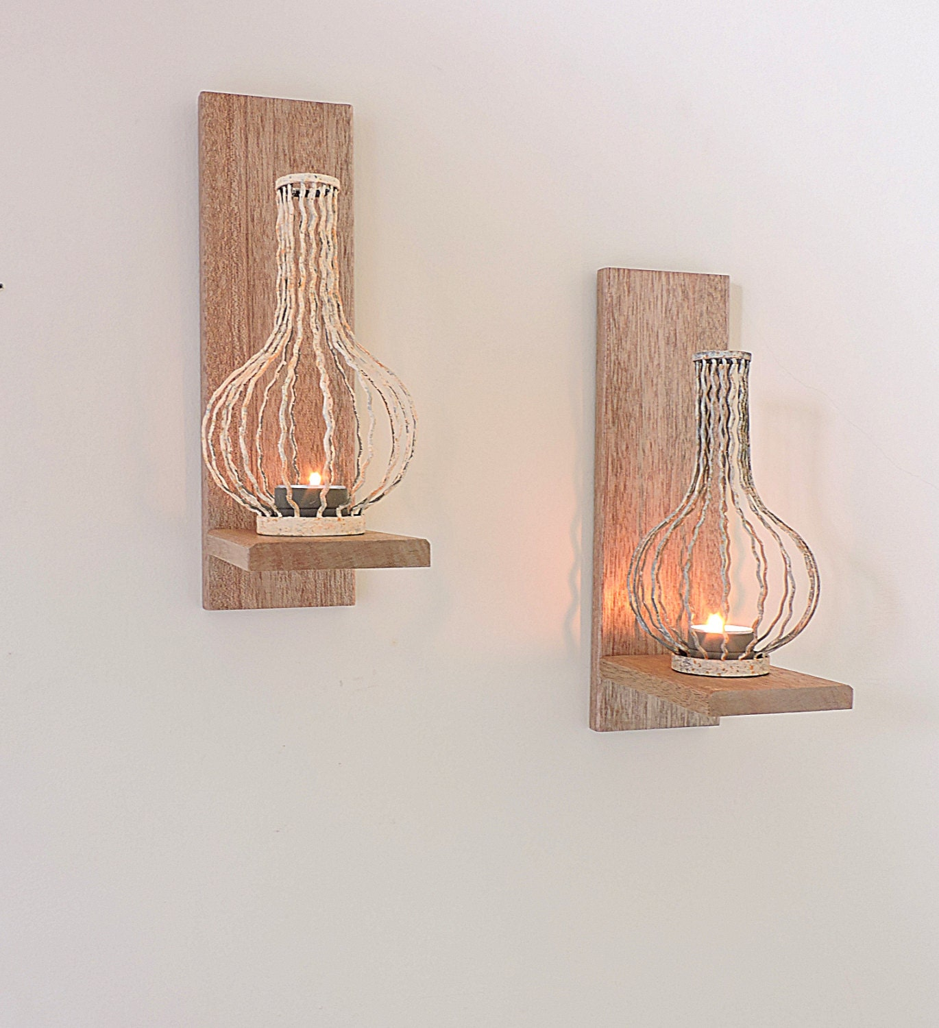 Oak Wall Sconces For Candles : 2 Rustic Wooden Candle Sconcesmahogany or oak candle holder