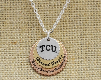 TCU Horned Frogs Stamped Disc Necklace
