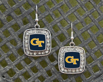 Georgia Tech Yellow Jackets Square Earrings