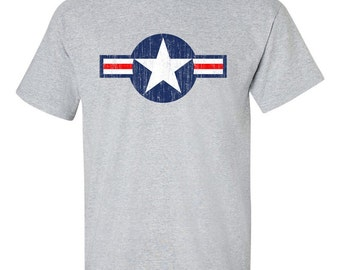 USAF Air Force Roundel Distressed Logo T Shirt