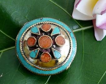 Tibetan Brass Focal Bead