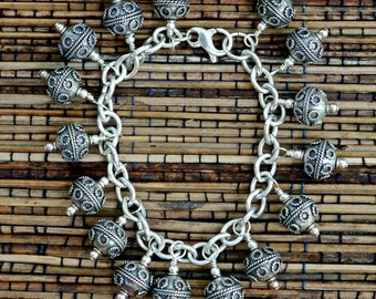 LIQUIDATION SALE...Sterling Bali Bead Bracelet
