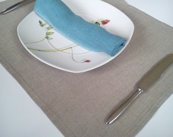 Linen placemats  - Grey - 12 x 17 inch size - Natural linen placemat