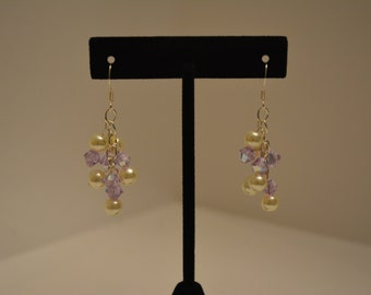 Glass pearl and Swarovski crystal dangle earrings