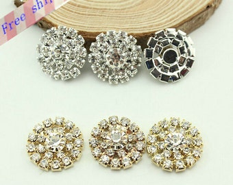 30pcs Metal clear  Rhinestone Button,Embellishment Flatback Sunflower Rhinestone Buttons