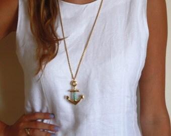 Anchor Necklace - Anchor Pendant - Long Necklace - Gold Necklace - Gold Pendant - Nautical Necklace - Statement Necklace - Minimalist