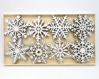 Box of 24 Wood Snowflake Embellishments/Ornaments