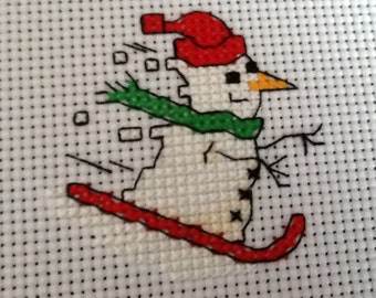 Christmas Completed Cross Stitch Motiff - Xmas Skiing Snowman-Ideal for Card Makers
