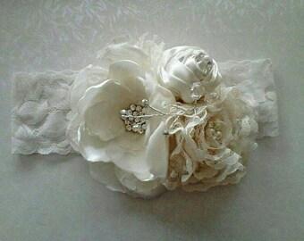 Beautiful vintage lace Crystal christening girl headbands