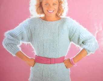 PDF lady's chunky bulky panel sweater jumper vintage knitting pattern pdf INSTANT download pattern only 32 - 40 inches