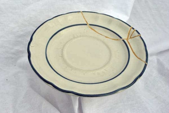 Country White Double Blue Kintsugi Plate Mended with Gold Seams