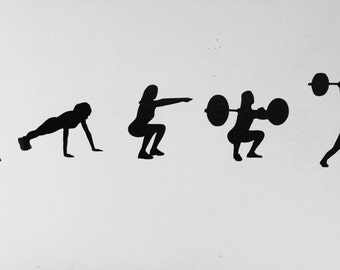 Workout Silhouette Vinyl Wall Decal