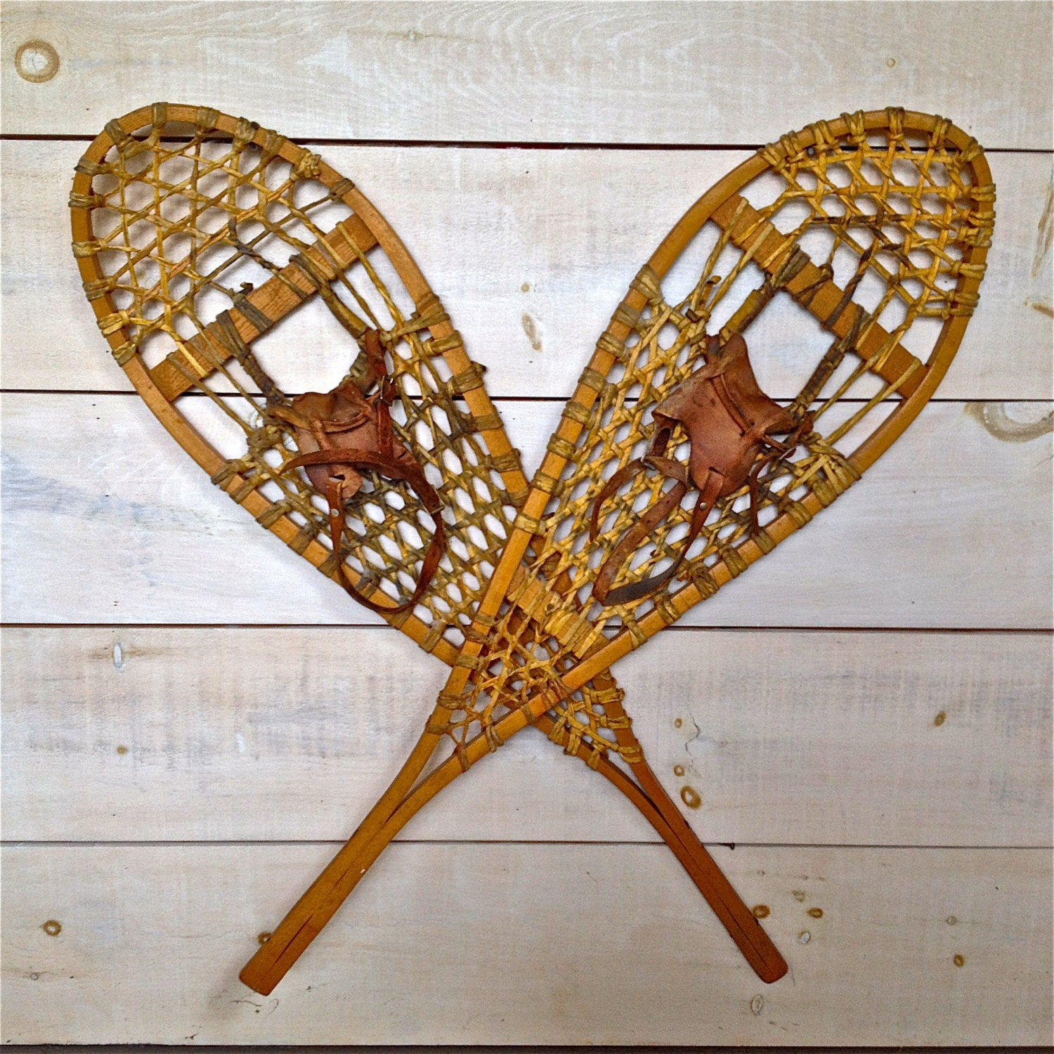 Pair Of Traditional Canadian Hand Made Snowshoes Wood Frame