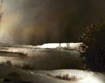 Vintage Winter Landscape: Dufex Foil Framed Print Printed in England