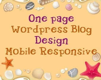 One page Custom Wordpress Blog Design Mobile Responsive