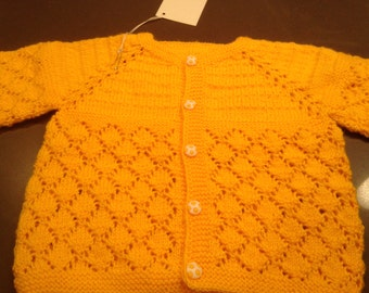 Warm Orange Baby Sweater/Cardigan, hand  made