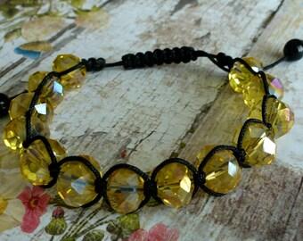 Crystal bracelet  yellow crystal bracelet  handmade shamballa bracelet