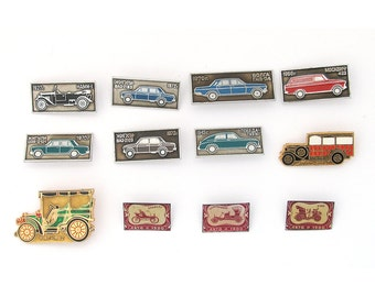 Retro Automobiles, Badges, Set, Vintage collectible badge, Soviet Vintage Pin, Soviet Union, Made in USSR