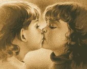 Cross Stitch Pattern ''First Kiss''