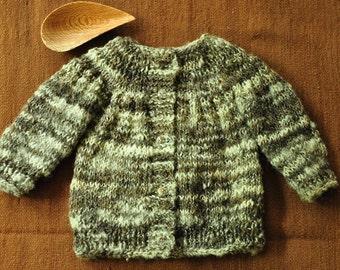 Wool Cardigan, Baby Cardigan, Wool Coat, Hand knitted Cardigan