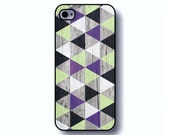 Geometric iPhone 5 case - Pastel mint and Purple, printed wood iPhone 5 case, tribal case cover (0050)