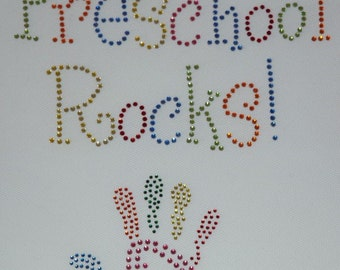 Rhinestone Preschool Rocks iron on transfer