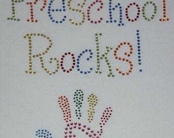 Rhinestone Preschool Rocks iron on transfer
