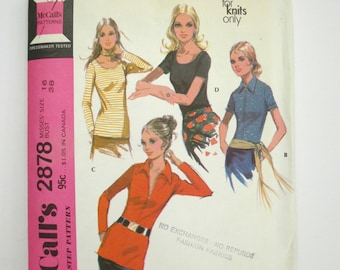 Mccall's 2878 ~ Close-Fitting, Hip-Length Knit Blouses: V-Neck With Front-Zipper or Scoop Neckline SIZE 16 CUT 1970's Sewing Pattern