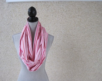 Fabric scarf, Infinity scarf, tube scarf, eternity scarf, loop scarf, long scarf , pink scarf, pink stripes, striped scarf