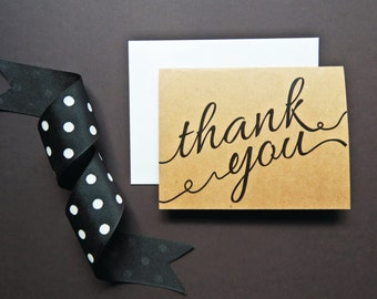 Rustic Thank You Cards (Set of 10) - Thank You - Card Set - Greeting Cards - Kraft Paper